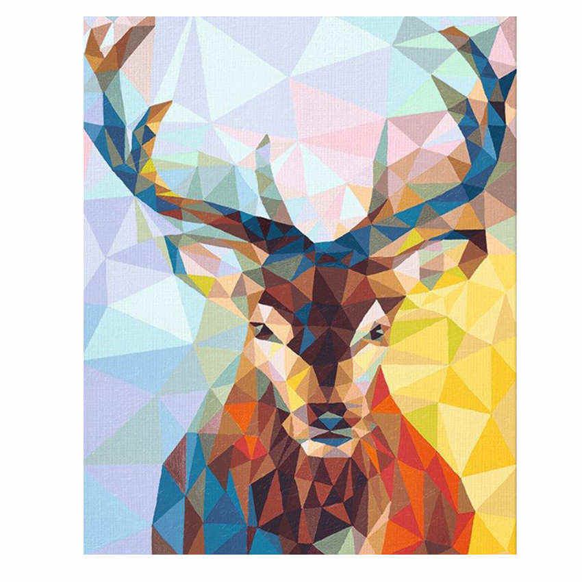 RIHE Frame Animal DIY Painting By Numbers Acrylic Paint On Canvas Abstract Deer Handpainted Oil Painting For Home Decor 40x50cm