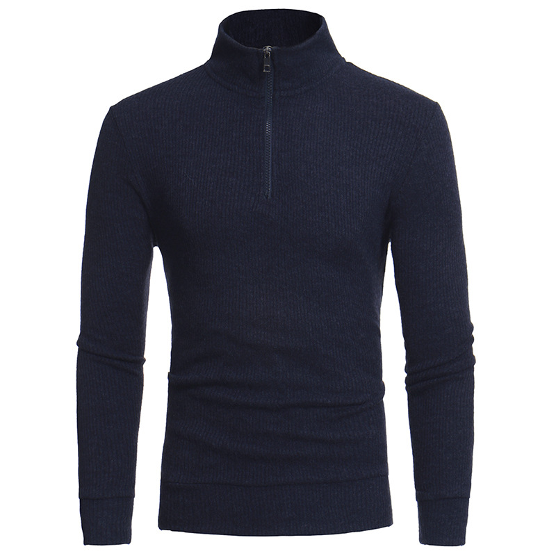 Men's New Simple Half Tall Zipper Collar Design Men's Cultivate One's Morality Leisure Knitting A Sweater