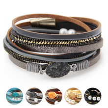 ZG 2019 charm Leather Bracelets For Women & Men Multiple Layers wrap Couple gifts fashion Jewelry wholesale