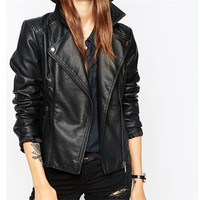 2017 New Fashion Autumn Street Women S Short Washed PU Leather Jacket Zipper Bright Colors New