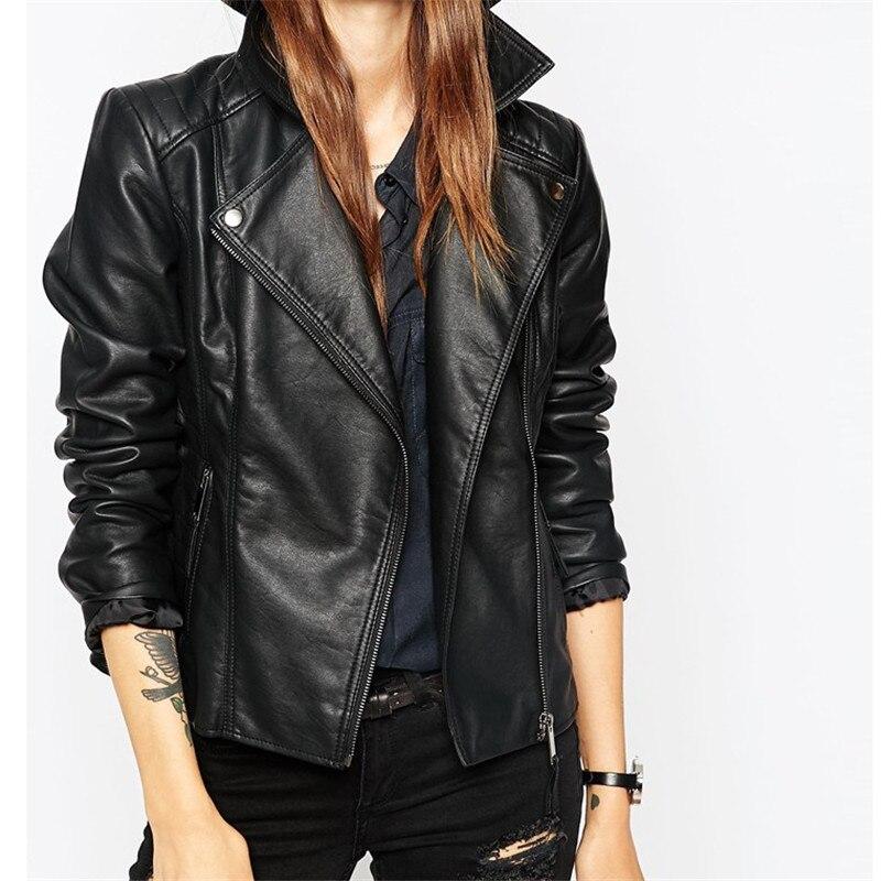2017 New Fashion Autumn Street Women's Short Washed PU Leather Jacket Zipper Bright Colors New Ladies Basic Jackets Good Quality