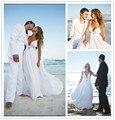 2016 sencilla de color blanco playa de la gasa vestido Sexy cuello en V sin mangas Backless vestido de novia vestido de novia