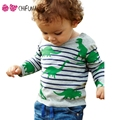 Chifuna Spirng Long Sleeve Children T Shirts Dinosaur Pattern Striped Boys Girls Top Tees Outfits Fashion Cotton Kid's T-shirts