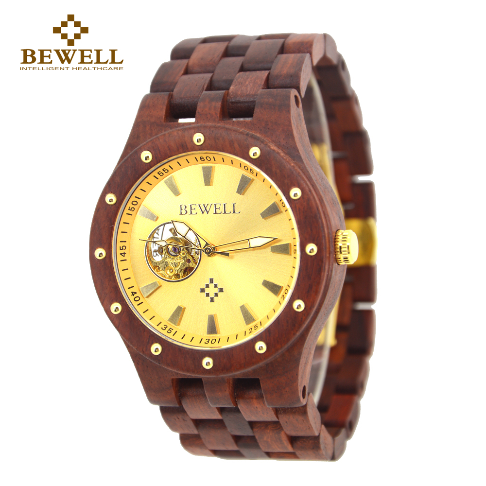 BEWELL Automatic Mechanical Watches Top Brand Luxury Sandalwood - Men's Watches