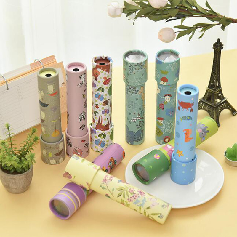 Cartoon Animal 3D Kaleidoscope Paper Card Colorful World Toy Childrens Educational Rotating Interactive Gift