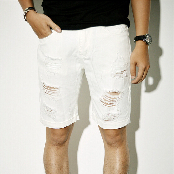 New 2015 mens 100% cotton fashion ripped white jeans praia beach ...