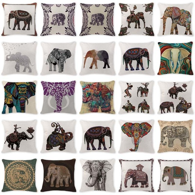 Lovely Cushion Cover Ethnic Morocco Elephant Car Seat Covers Sofa Rectangle Cotton Linen Houseware Animal Pillowcase