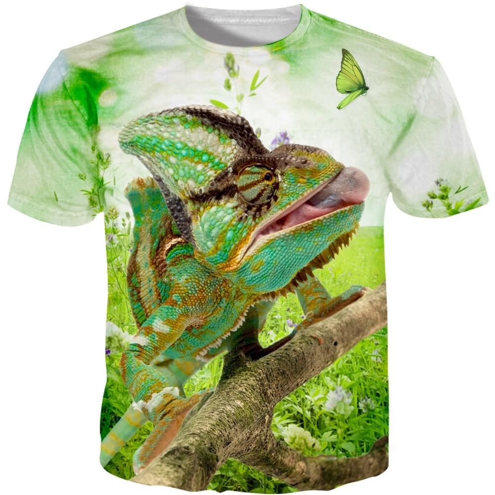 Neues der hohen Qualität das lustige T-Shirt des Comicchamäleons 3d des Spassvogels 3d Sommerart-T-Stücke oberstes volles Drucken