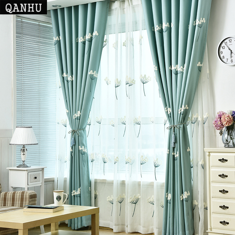 US $37.0 |QANHU Newest Pastoral Blackout Curtains Jacquard for Bedroom  Textile Curtains Sets for the Living Room Curtains on the door #1 6-in  Curtains ...