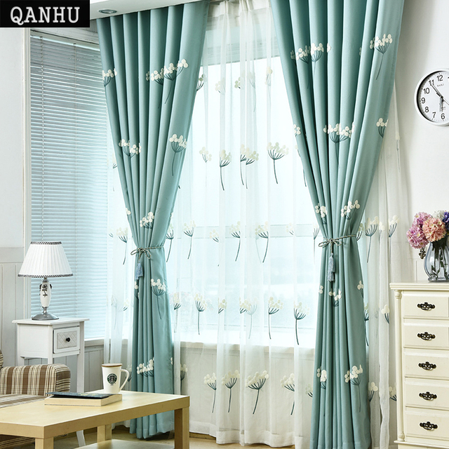 QANHU Newest Pastoral Blackout Curtains Jacquard for Bedroom Textile ...