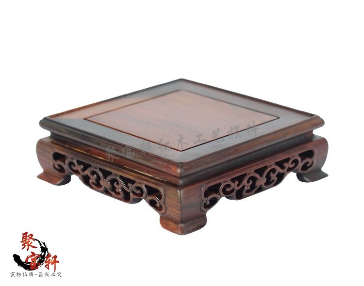Wooden square seal base solid wood carving decoration stone Buddha vase  handicraft furnishing articles on sale