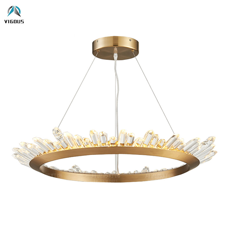Lampadaire moderne Lustre cristal puce LED suspension ronde Luminaria brosse or/plaque Hrome/noir mat suspension lampe