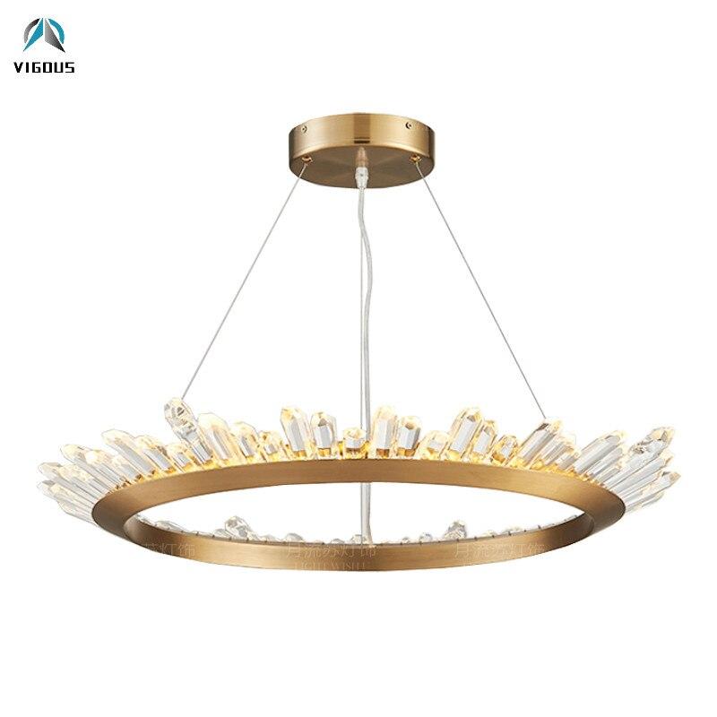 Post Modern Lustre Crystal Led Chip Round Pendant Light Luminaria Brush Gold Plate Hrome Matte Black