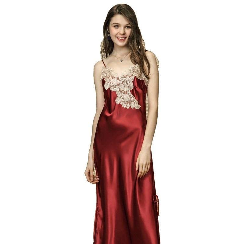 2018 Spaghetti Strap Long Nightgown Sexy V-Neck Ankle-Length Negligees Women Summer Lace Sleepshirt Silk Satin Sleepwear