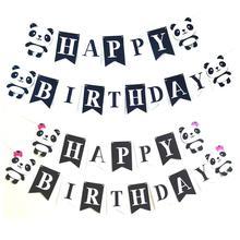 1 Set Cartoon Panda Themed Party Banner Happy Birthday Letter Kids Boy Gir Child Bunting Garland Supplies