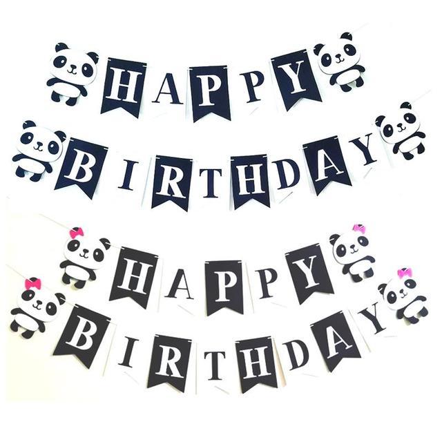 1 Set Cartoon Panda Themed Party Banner Happy Birthday Letter Banner