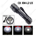 New 1800LM C8 CREE XM-L2 U3 3-Mode (High-Medium-Low) SMO LED Flashlight Torch ~ Mail Free