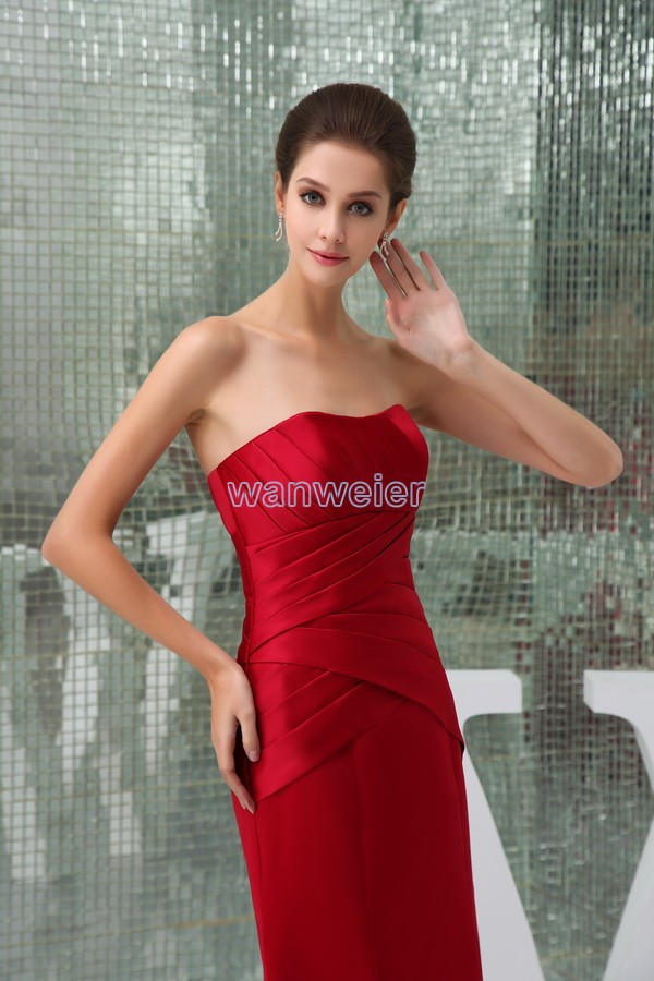free shipping modest 2016 new design hot sale tube top pleat custom size  mermaid plus size gown beach long red Bridesmaid Dress-in Bridesmaid Dresses  from ... a4ead8c0588c