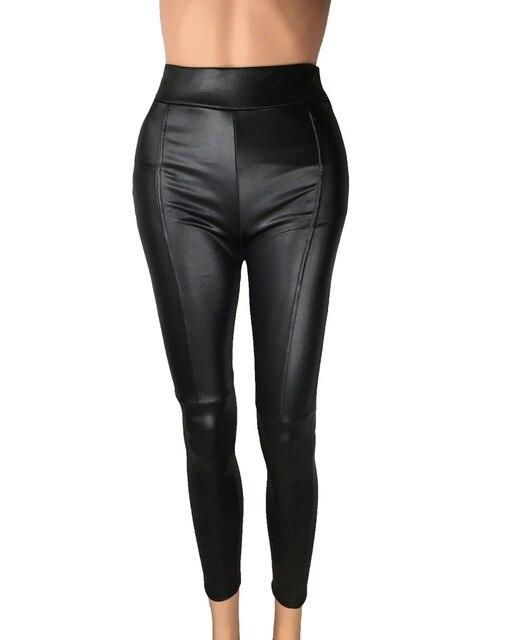 Big Sale ! 2014 New Trend Knitting women's Nine minutes pants Fashion sexy Imitation leather slim PU elastic leggings 2 Colors 4