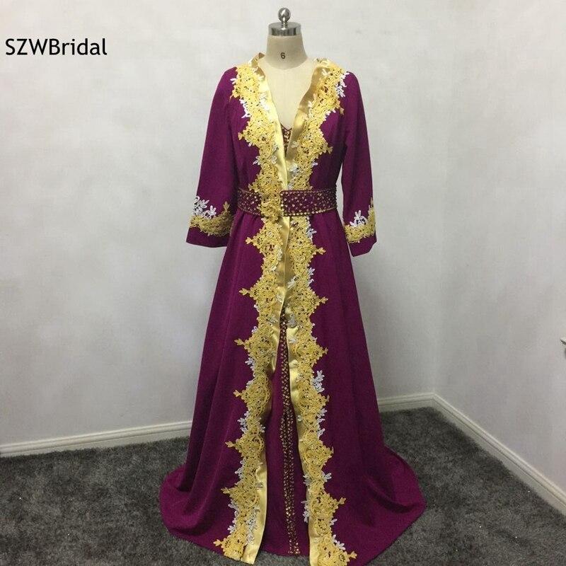 New Arrival Long sleeve   evening     dresses   2019 Gold lace appliques Abendkleider formal   dress   elegant Formal   dress