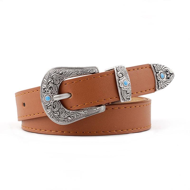 Winfox Fashion Black Women Lady Girl Vintage Metal Buckle Boho Leather Waist   Belt   Waistband waist   belt