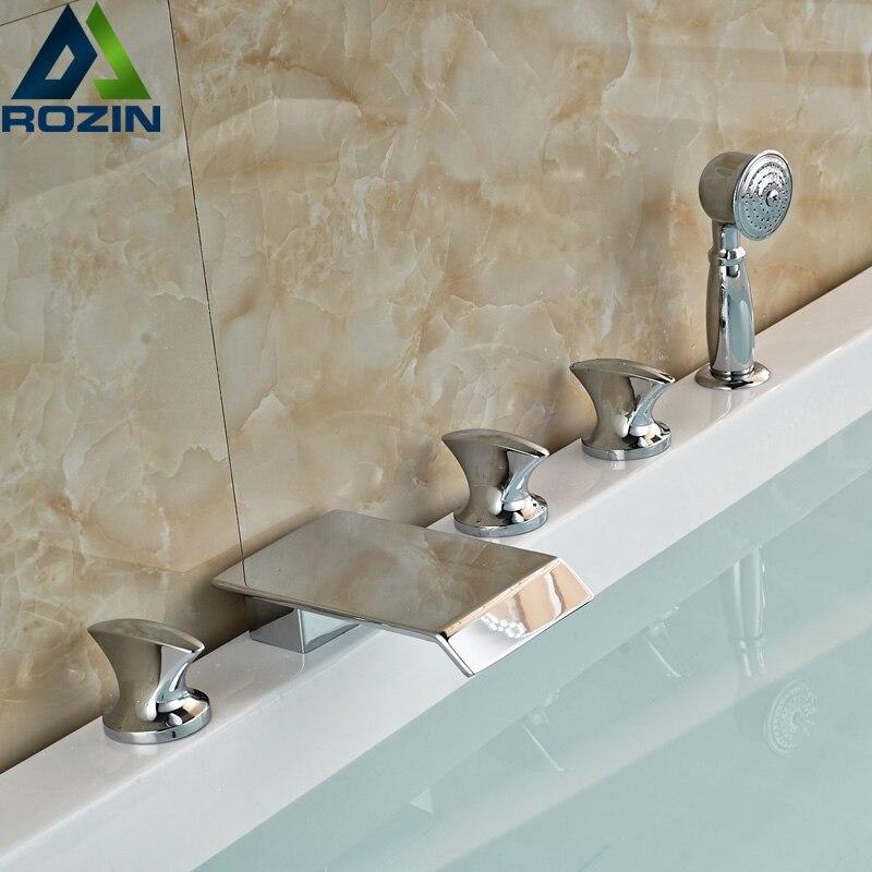 где купить Modern Deck Mounted Waterfall Bathtub Faucet Chrome Brass Widespread 3 Handles Tub Mixer Taps по лучшей цене