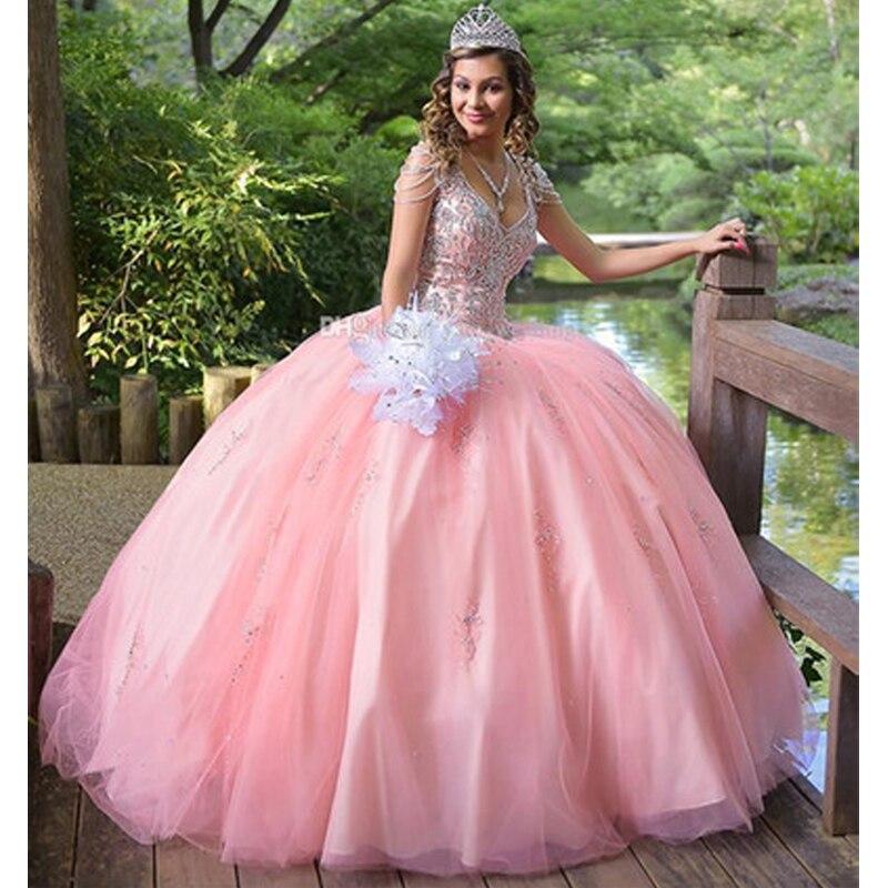 Vestido de fiesta de princesa vestidos de quinceañera 2019 dulces 16 vestidos rubor cristales de cuentas vestido de fiesta de talla grande vestidos de 15 anos