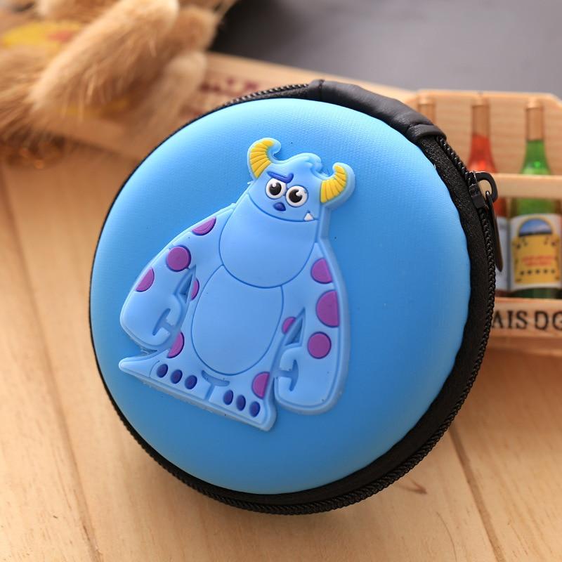 Kawaii Animals Cartoon Coin Purse Kids Gifts Earphone Holder Organizer Round Shape Mini Coin Key Silicone EVA Zipper Wallet Bags