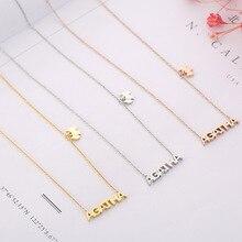TSHOU32 новые модные большие буквы Титан Сталь цепочки и ожерелья для женщин розовое золото ключицы цепи кулон со щенком jewelry