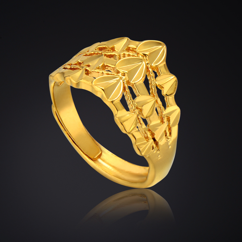 Heart Shaped Engagement Rings For Women Gold Color Gothic Jewelry