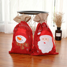 2 pcs Cartoon Style Linen Christmas Gift Bags Presents Xmas Candy Bag Ornament Decorations for Home 2018
