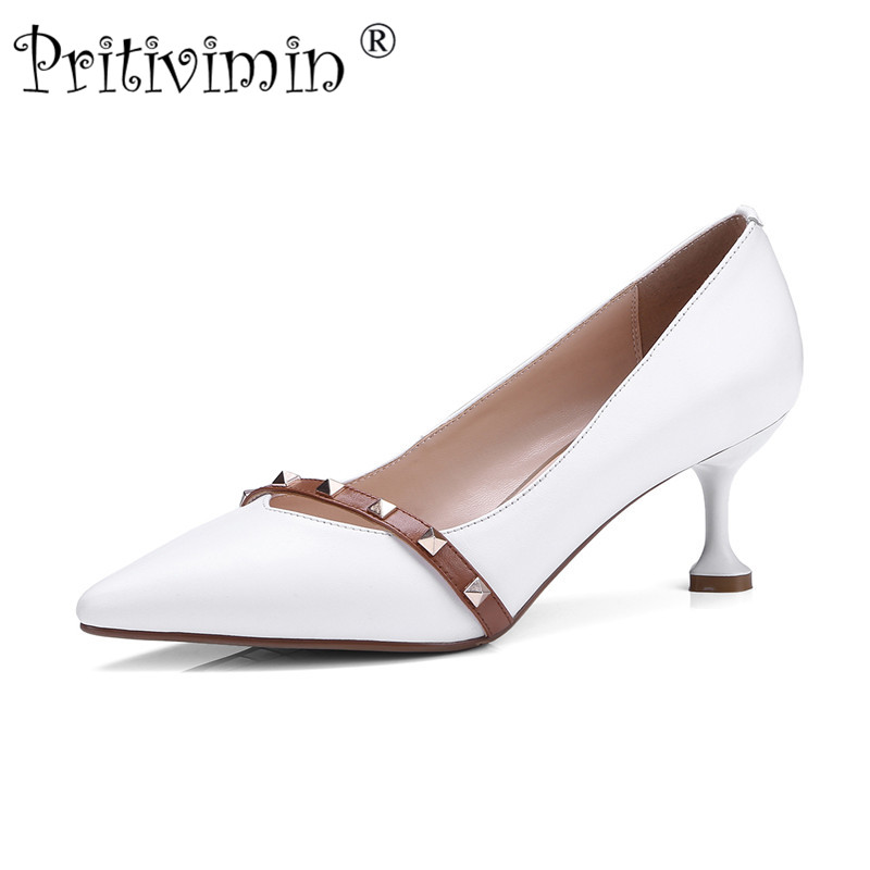 Pritivimin 2018 ladies pointed toe thin high heel handmade shoes women genuine leather heels girls fashion rivet pumps FN146 allbitefo fashion sexy thin heels pointed toe women pumps full genuine leather platform office ladies shoes high heel shoes