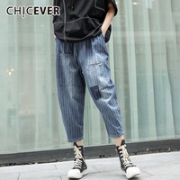 CHICEVER Summer Vintage Striped Blue Denim Women Pant Elastic Mid Waist Pockets Thin Ankle Length Pencil Jean 2019 Fashion New