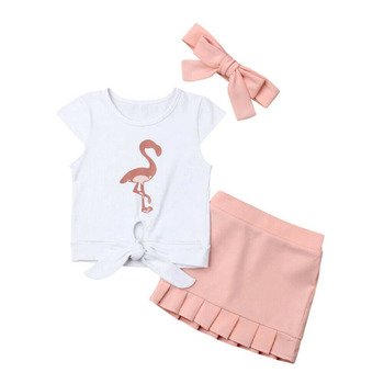 New Toddler Kids Baby Girls Flamingo Knotted T-Shirt Dress Skirt 3PCS Outfit Sunsuit 2019 Fashion