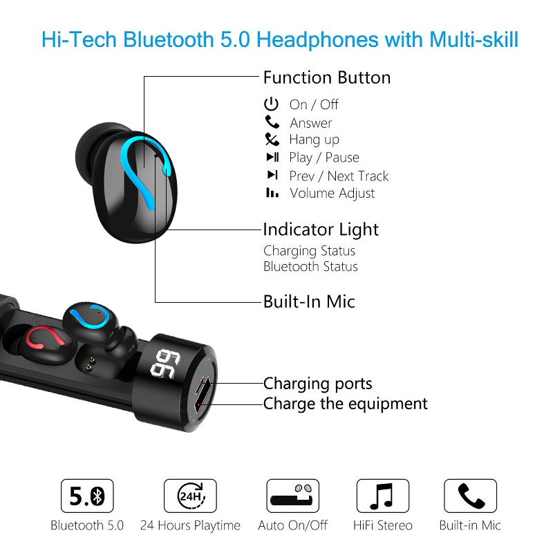 Original HBQ TWS Wireless Earbuds 3D Stereo Mini Bluetooth Earphone 5 0 With Dual Mic and charing box Sports Waterproof Earphone in Bluetooth Earphones Headphones from Consumer Electronics