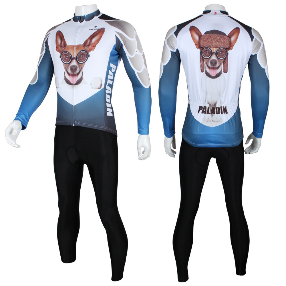 Free shipping 3D Beverly Hills Chihuahua Pattern Men Breathable Long sleeve Riding Apparel Size S To 6XL