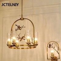 New American copper chandelier lamp Nordic personality art tree glass bird copper copper chandelier
