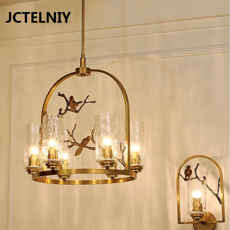 New American copper chandelier lamp Nordic personality art tree glass bird copper copper chandelier