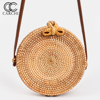 CARCHI 2018 New Fashion Round Straw Bag Handbags Women Summer Rattan Bag Handmade Woven Beach Handbag For Women Bag