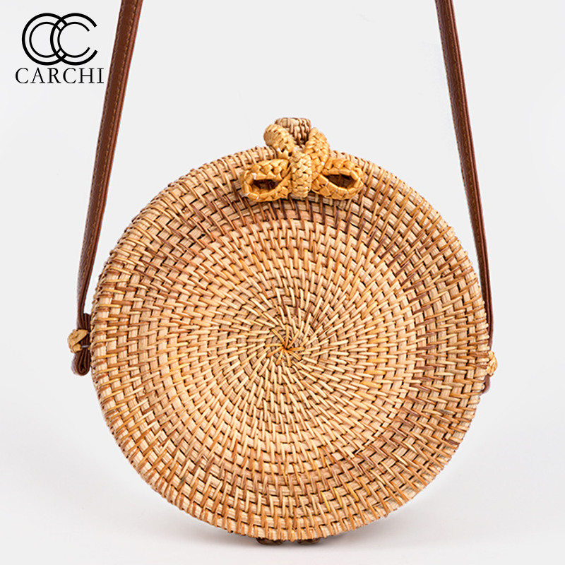 CARCHI 2018 New Fashion Round Straw Bag Handbags Women Summer Rattan Bag Handmade Woven Beach Handbag For Women Bag