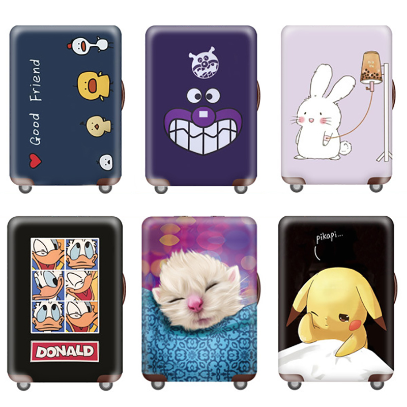 Cute Elastic Luggage Cover Cartoon Trolley Suitcase Student Kid Protect Dust Bag For 18-32 Inch Case Travel Accessories