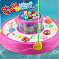 Child electric fishing toy rotating double layer music magnetic baby educational toys 1 - 2 - 3