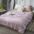 DeMissir 2018 Hot Wash Cotton Summer Cool Quilt Twin Full Queen Stripe Air Conditioner Soft Comfortable Thin Comforter Blanket