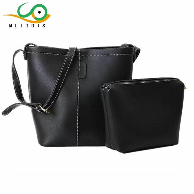 MLITDIS Leather Tote Bag Women Bucket Bolsas de Hombro Sólido de Las Mujeres Gra