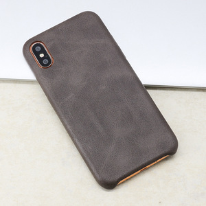 Image 3 - 50PCS PU Back Leather Case For iPhone X 6 6s 7 8 Plus Retro Case Cover For iPhone 8 Simple Phone Shells