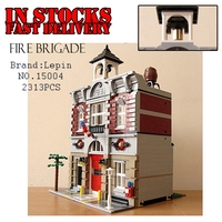 Lepin Creator 15004 2313pcs City Street Fire Brigade Model Doll House Building Blocks Bricks Toys For