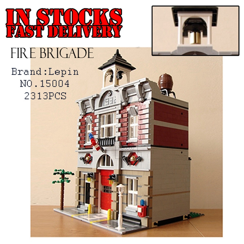 Lepin Creator 15004 2313pcs City Street Fire Brigade Model Doll House Building Blocks Bricks toys for children Compatible 10197 lepin city creator 3 in 1 beachside vacation building blocks bricks kids model toys for children marvel compatible legoe