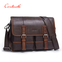CONTACT S 2017 New Fashion Genuine Leather Men Shoulder Bags Handbag High Quality Casual Messenger Bag