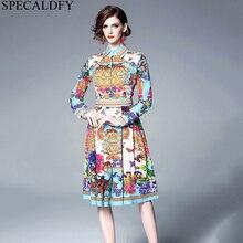 4fc6fd2ebb 2019 wiosna Runway projektant sukienki długa sukienka koszulowa kobiet  luźna z długim rękawem drukuj sukienka w stylu Vintage wy.