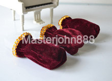 1 Set of 3pcs Universal Piano Pedal Velvet Covers Protective 3 Colors Free Shipping